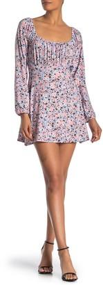 Velvet Torch Floral Long Sleeve Jersey Mini Dress