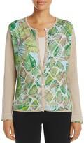 Basler Leaf Print Cardigan