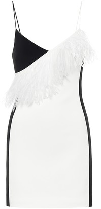 David Koma Feather-trimmed cady minidress