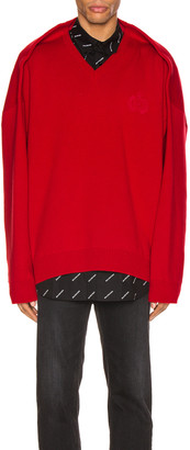 Balenciaga Long Sleeve V Neck Sweater in Red | FWRD