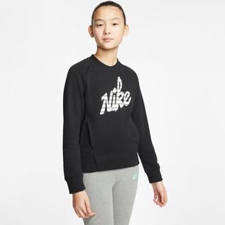 Nike Girls' Sportswear Graphic Logo Crewneck Sweatshirt