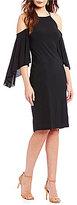 R & M Richards Cold-Shoulder Flutter-Sleeve Dress