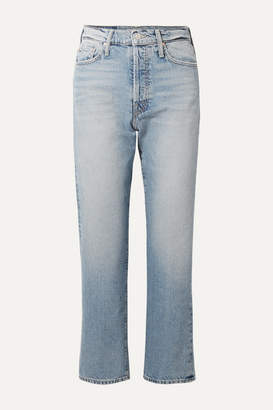 Mother The Huffy Flood Cropped High-rise Straight-leg Jeans - Light denim