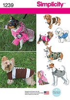 Simplicity 1239 Size A Dog Coats in 3 Sizes Sewing Pattern, Multi-Colour