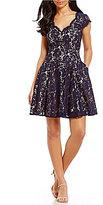 Eliza J Scalloped Lace Fit & Flare Dress