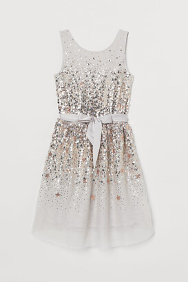 H&M Tulle Dress with Sequins - Gray