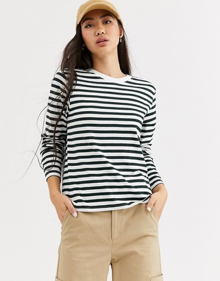 Weekday Alanis striped long sleeve t-shirt in teal and white