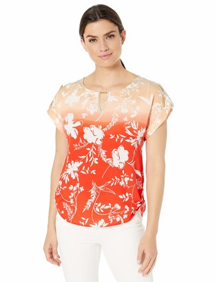 Calvin Klein Women's Sleeveless ROLL Sleeve W/BAR Hardware