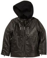 Urban Republic Fleece Hood Faux Leather Jacket (Toddler Boys)