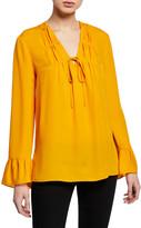 Kobi Halperin Mia V-Neck Long-Sleeve Silk Blouse