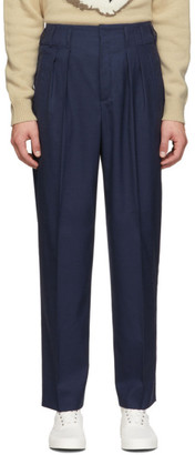 MAISON KITSUNÉ Navy Melange Pleated Trousers
