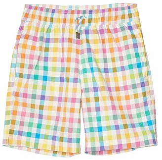 crewcuts by J.Crew Rainbow Plaid Trunks (Toddler/Little Kids/Big Kids) (Ivory/Rainbow) Boy's Swimwear