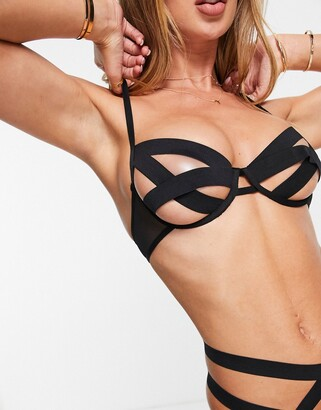 Bluebella Emilia bandage cut out bra in black