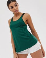 Asos 4505 4505 cross back top with logo elastic