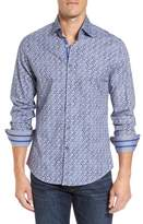 Stone Rose Men's Slim Fit Triangle Print Sport Shirt