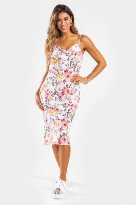 francesca's Carly Floral Midi Dress - Ivory