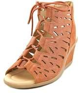 Earth Daylily Women Open Toe Leather Tan Wedge Sandal.