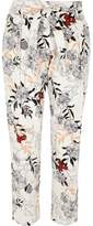 River Island Womens Cream floral print tie waist tapered trousers