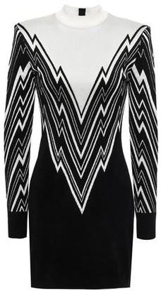 Balmain Metallic Striped Woven Mini Dress