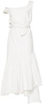 Isa Arfen Asymmetric Metal Cotton Ruffle Dress