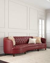 """Haute House Magnolia Oxblood Tufted Leather Sofa 126"""""""