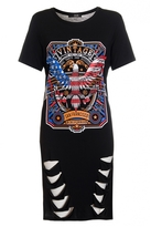 Quiz Black Rock Print Laser Cut T-Shirt Dress