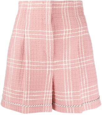 MSGM Check-Pattern High-Waisted Shorts