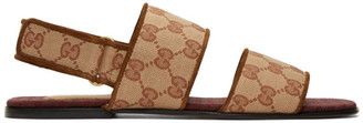 Gucci Brown Canvas GG Sandals