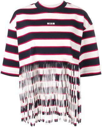 MSGM striped fringed T-shirt