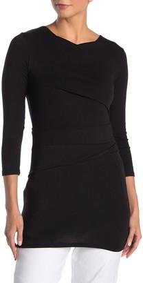 Jarbo Asymmetric Pleated 3/4 Sleeve Tunic Dress