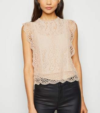 New Look Cameo Rose Crochet Lace Top