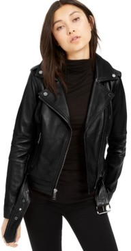 Michael Kors Michael Leather Belted Moto Jacket, Created for Macy's