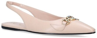 Gucci Leather Zumi Slingback Ballet Flats