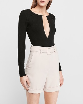 Express Super High Waisted Belted Bermuda Shorts