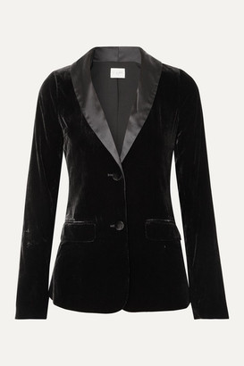 CAMI NYC The Emmie Stretch-silk Charmeuse-trimmed Velvet Blazer - Black