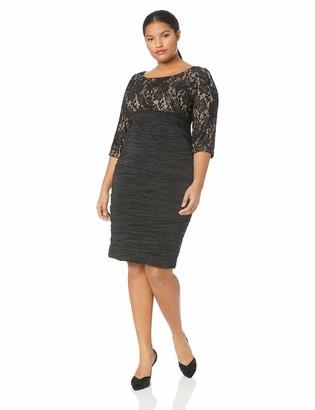 Alex Evenings Women's Plus Size Midi Empire Waist Sheath Dress with Sleeves