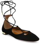 Aquazzura Dancer Suede Lace-Up Flats