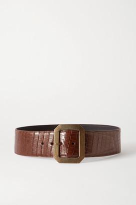 Saint Laurent Croc-effect Leather Waist Belt - Brown