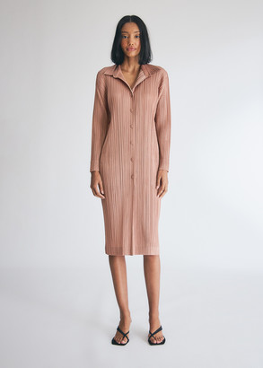 Pleats Please Issey Miyake Women's Button Down Coat Dress in Cinder Rose, Size 5