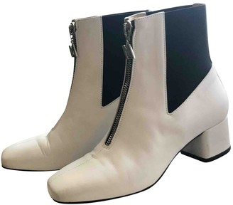 MSGM White Leather Ankle boots