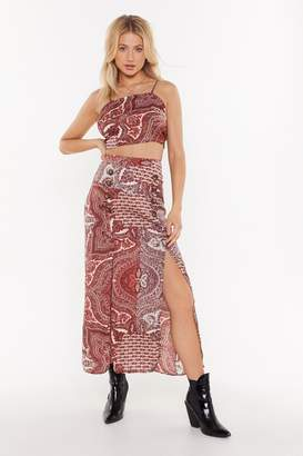Nasty Gal Womens Paisley Print Double Split Maxi Skirt - Red - 6, Red
