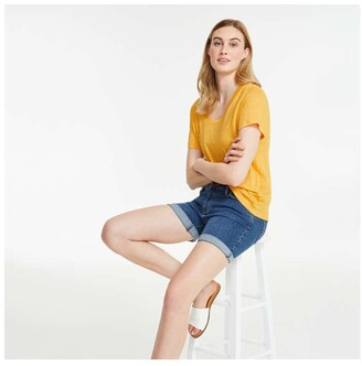 Joe Fresh Women's Linen Tee, Yellow (Size M)
