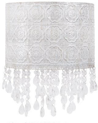 Tadpoles Chandelier-Style Shade with Beading, Silver Antique Finish