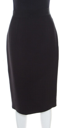 Giambattista Valli Black Silk Wool Ribbed Waist Pencil Skirt S