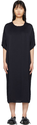 Raquel Allegra Navy Satin T-Shirt Dress