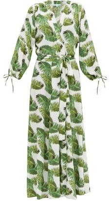 Melissa Odabash Margo Palm-print Poplin Wrap Dress - White Print