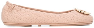 Tory Burch Quilted Branded Ballerina Shoes