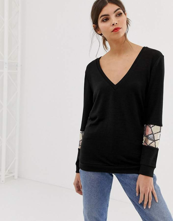 V Neck Long Sleeve Sweater With Sequin Detail