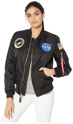 Alpha Industries MA-1 Nasa Flight Jacket (Black) Women's Clothing