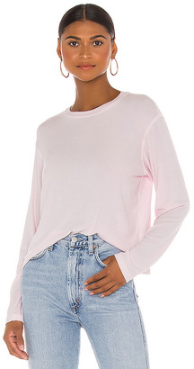 ATM Anthony Thomas Melillo Micromodal Long Sleeve Cropped Crew Neck Top
